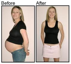 A before and after shot of an actual customer of Pregnancy Without Pounds shows off her hot, fit body with a giant smile.